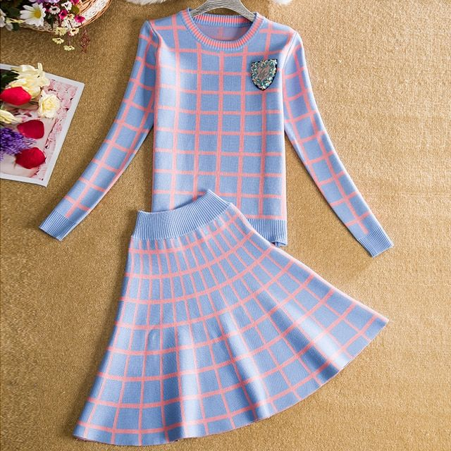 High Quality Beading Winter Skirt Set Plaid Knit Sweater Top and Skirt Bottom Suits 2 Pieces Women Autumn Clothing Sets