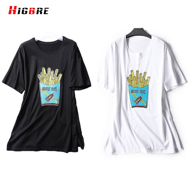 HIGBRE 2017 Summer T Shirt Teenage Woman Tops Cotton Large Size Casual Cartoon Print T-shirt O-neck Plus Size Side Slits Tshirt
