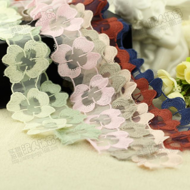 2017 Hot Sale Promotion Jacquard Sewing Accessories African Cord Lace 5cm Four Flower Lace Motif Diy Handmade Jewelry Materials