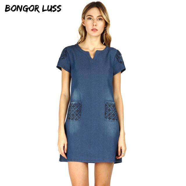 BONGOR LUSS 2017 High Quality Summer Dress Women Loose Fashion Casual Mini Jeans Dresses For Women Plus Size Women Clothing 5XL