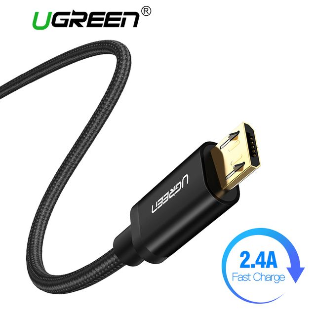 Ugreen Nylon Micro USB Cable 2.4A Fast Charging Data Cable for Xiaomi Redmi Note 5 Huawei HTC Phone Charger Cable Micro USB Cord