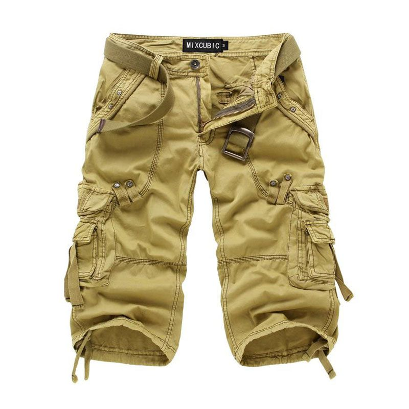 2017 New Men Summer Military Cargo Shorts Cropped Trousers Loose Fit Bermuda Masculine Fashion style  Baggy Cargo Shorts 29-38