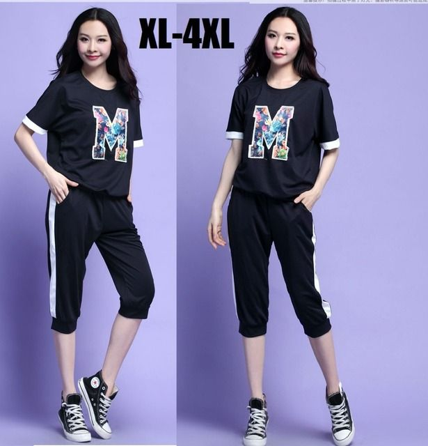 2015 new arriving plus size women twinset letter printed t shirt + capri pants O neck Cropped pants+blouse sportswear XXXXL 3706