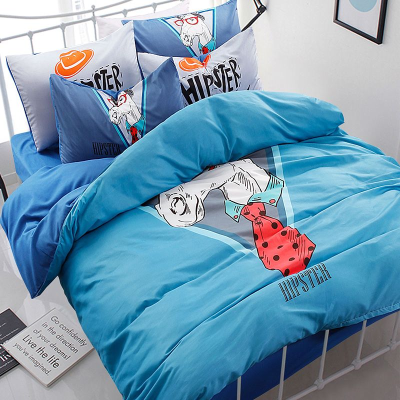 2017 new Simple Cotton Bedding Set Mr. Horse Pattern Bed duvet cover and linens home Set 4pcs Smooth kids bedding set