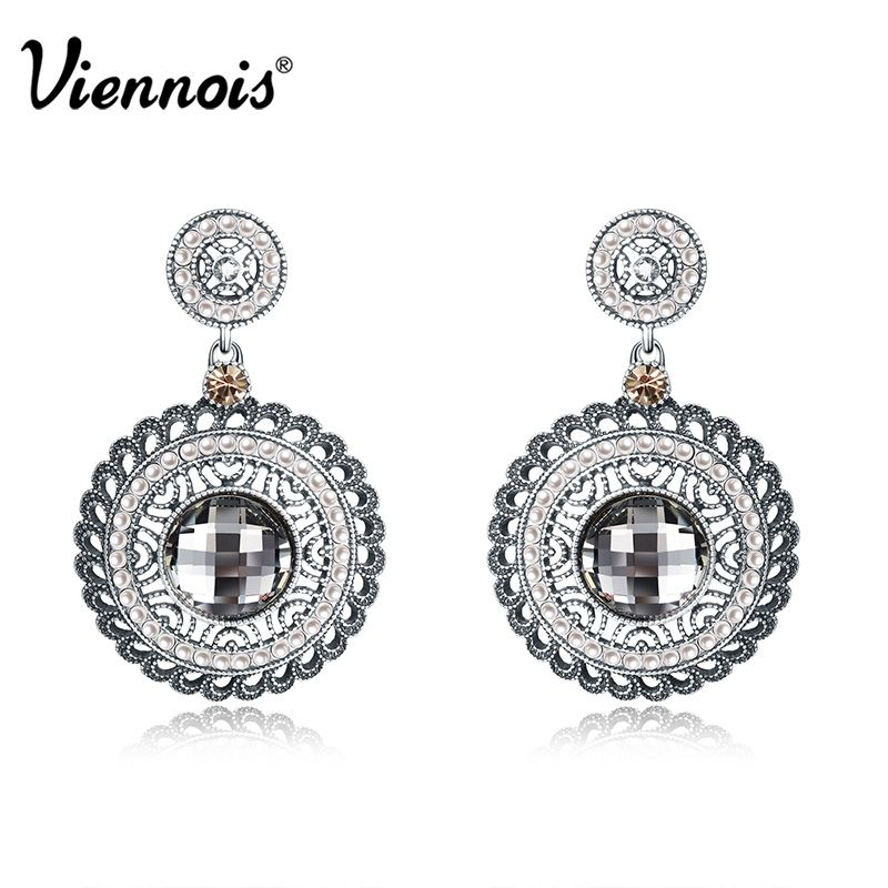 Viennois Antique Silver Color women Round Dangle Earrings Rhinestone Vintage Crystal Earrings Simulated Pearl Drop Earrings