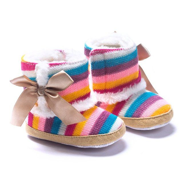 Baby Newborn Girl Winter Snow Boots Soft Plush Winter Boots Flat  Booties Infant Anti Slip Snow Boots Shoes