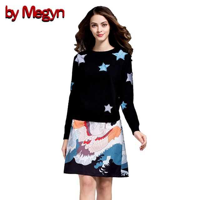 by Megyn 2 Piece Women Set  Casual Suits Wool Pullover  Tops + Floral Print Knee Length Skirt Women Bodycon Dress Twinset V318
