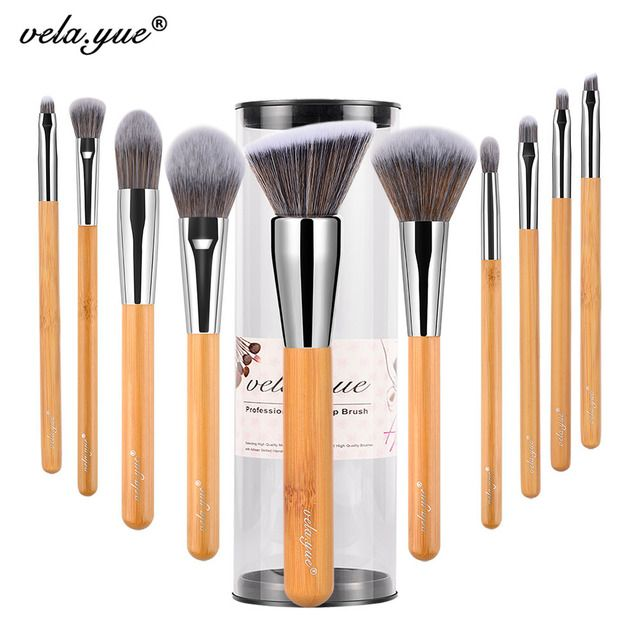 vela.yue Makeup Brushes Set  10 pieces Vegan Face Cheek Eyes Lips Beauty Tools Kit with Case