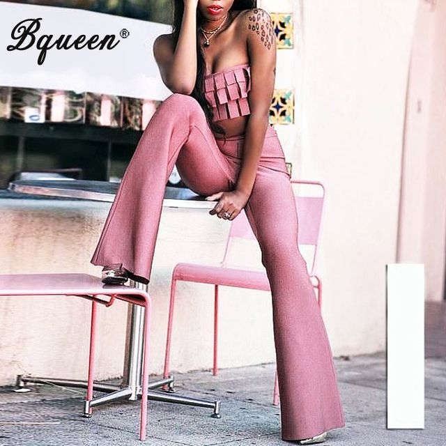 Bqueen 2017 New Style Fashion Autumn Sexy Tassel Strapless Crop Top Flare Skinny Full Length Pant Suits Bandage Sets