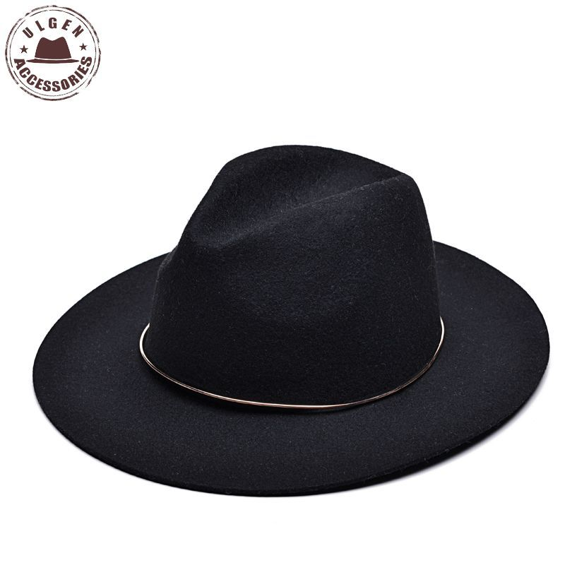 Vintage unisex wool Jazz hats large brim felt cloche cowboy panama fedora hat for women mens black trilby derby fedoras