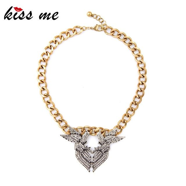 Fashion Vintage Jewelry New Arrival Alloy Chunky Chain Symmetry Crystal Bird Pendant Necklace Factory Wholesale