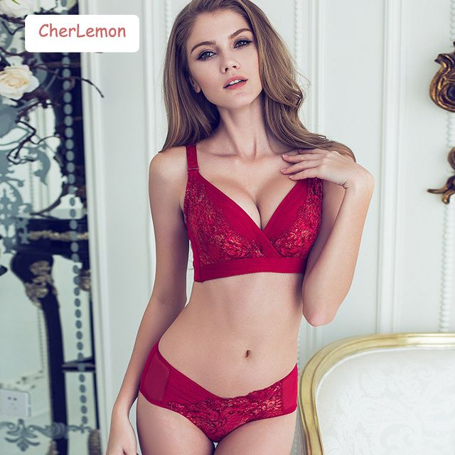 CherLemon New Sexy Push Up Women Bra Set Lace Embroidered Ladies Underwear Set Sexy Lingerie Sets Women Bra Brief Sets Intimates