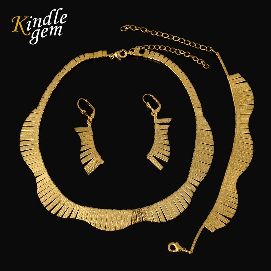 Fashion High Quality Pure Gold Color Dubai Jewelry Set Italy 750  Earrings Necklace Bracelet For Women Wedding Party Set