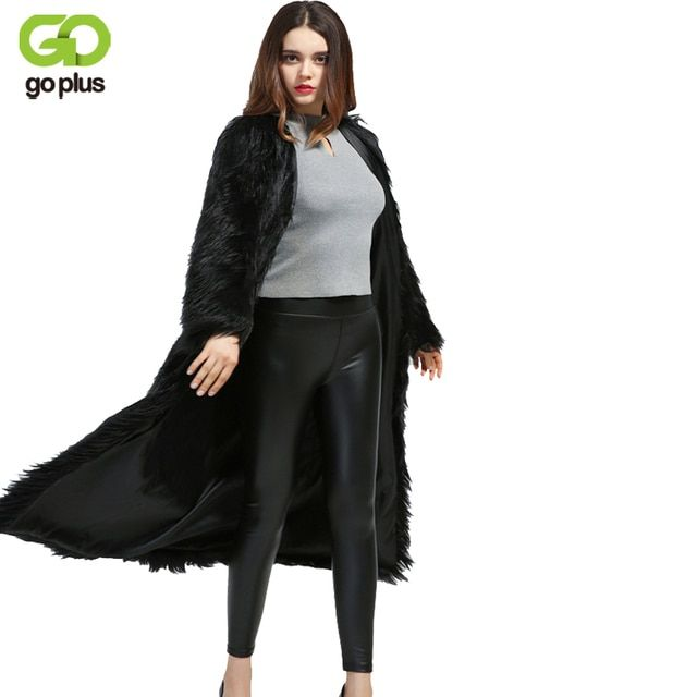 GOPLUS 2017 Women Winter Fake Fur Coats Extra Long Vintage Artificial Queen Black Faux Fox Fur Coat Nightclub Fur Trench Coat