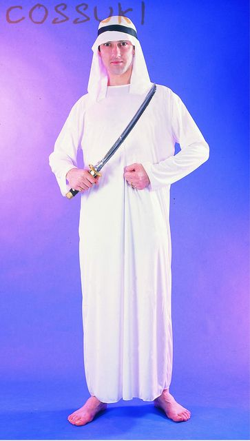 Free Shipping! Halloween Exotic Adult Men White Arab Robe Arabian Prince Cosplay Costume For Performance Or Masquerade Party