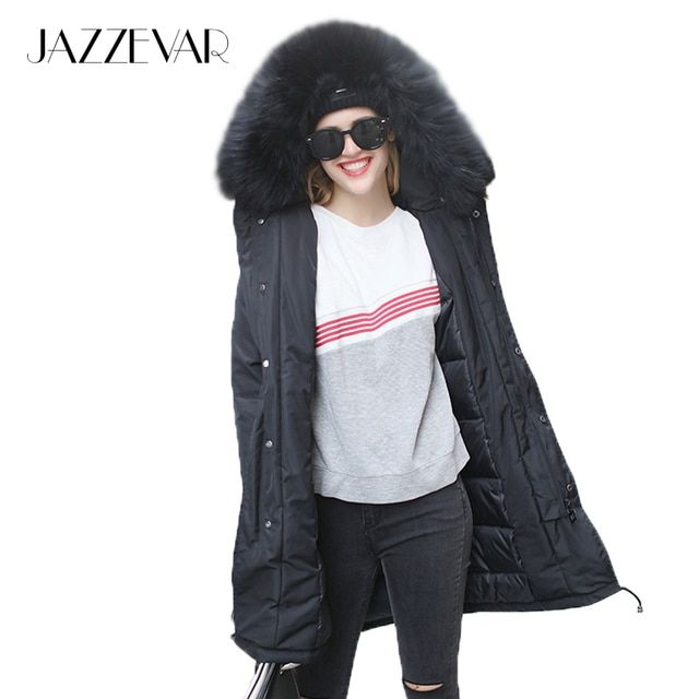 2016 Winter New Fashion Street Women's Real Raccoon Fur Hooded Down Jacket Parkas Army Green Coat Outwear Winter Jacket