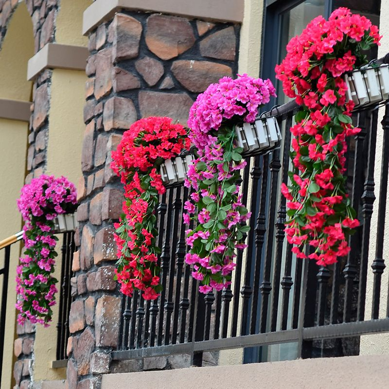 Artificial Flower Hanging Basket Violet Fake Flower Decoration Simulation Wall Hanging Basket Blossom Orchid Silk Flower Vine