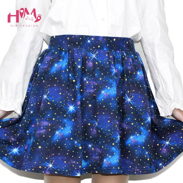 Harajuku Starry Sky Skirt Astral Print Skirts Summer Tutu Cotton Skirt Blue Color Emoji Starry Galaxy Skirt Cotton Free Shipping