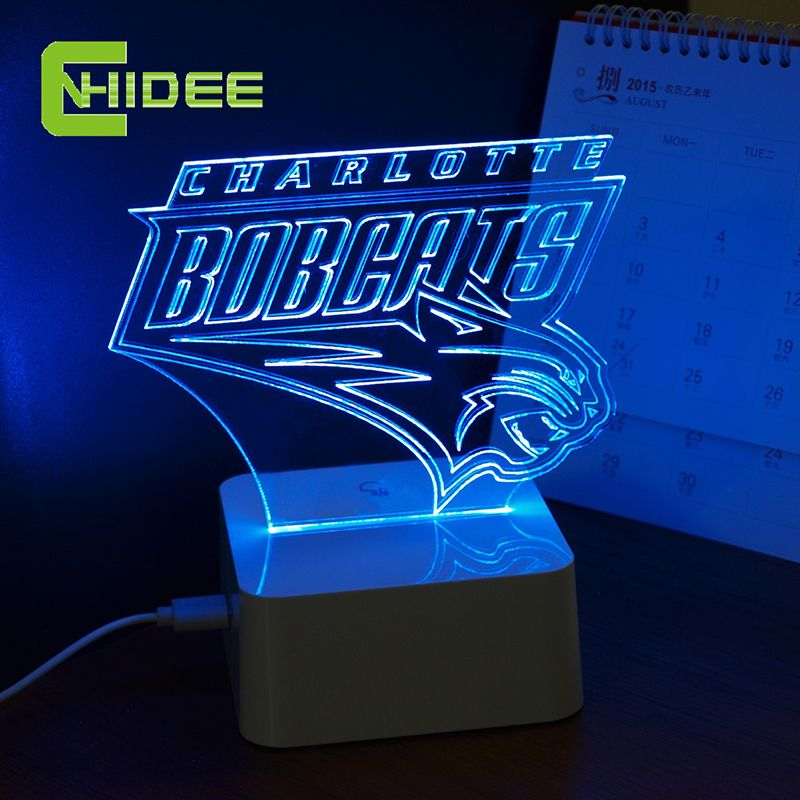 CNHidee Touch Dimmable Lamp NBA Light for Bobcats Desk Light Charlotte 3D lamp Creative NBA 3D Desk Lamp for Home Decor