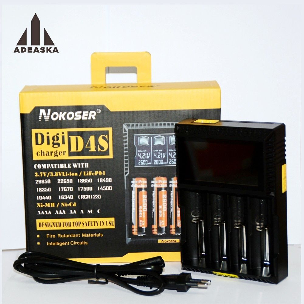 Nokoser D4S LCD charger for 3.7V 18650 26650 18500 Cylindrical Lithium Batteries  1.2V AA AAA NiMH Battery Charger