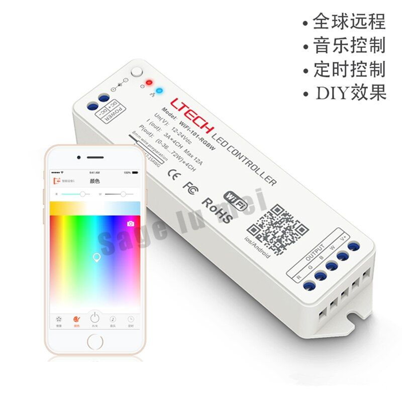 LETCH DC12V 24V 2.4G MINI WIFI RGBW controller iOS Android APP WiFi RGBW led controller Wireless For rgbw led strip light