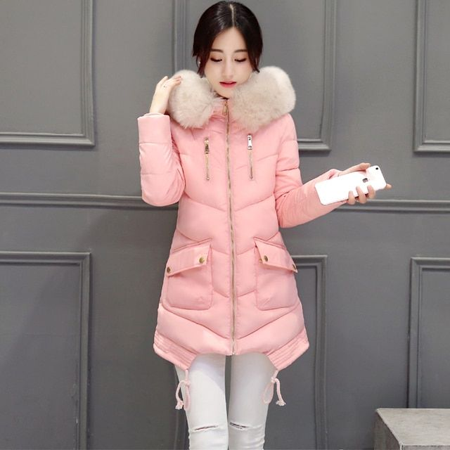 2016 Female Long Winter Down Jacket Cotton Slim Overcoat Fur Hooded Elegant Casual Long Sleeve Women Coat Park JBD03