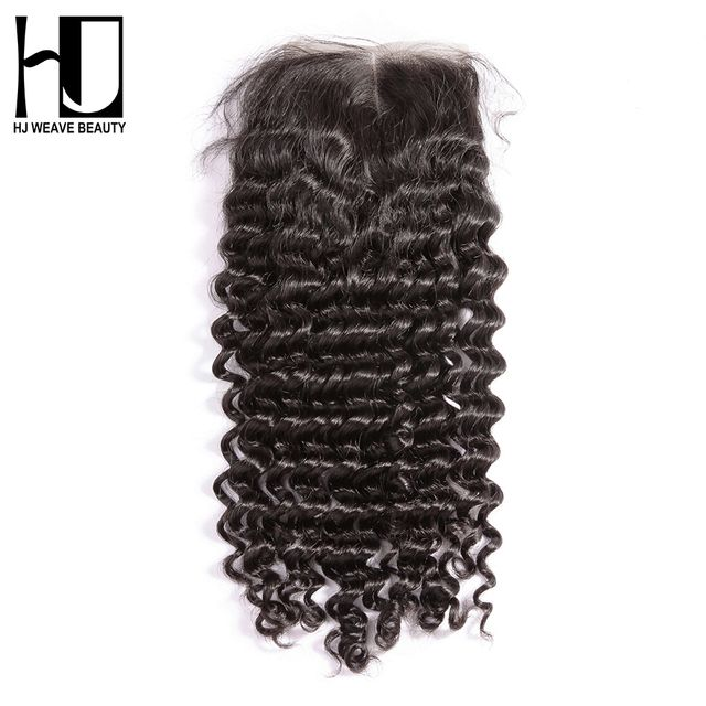 HJ WEAVE BEAUTY Peruvian Lace Closure Deep Wave Remy Hair Middle Part 4''x 4'' 100% Human Hair Free Shipping