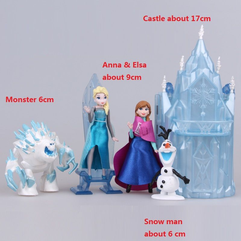 5 pcs/set Kids my cute little Anna and Elsa and castle Set figures Toy Action dolls poni for children birthday gift doll Anime