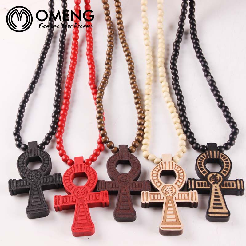 OMENG Ankh Necklace Coss Colorful GOOD WOOD Beads Boho Beads Long Chain Pendant Wooden Necklaces Hip Hop Fashion Jewelry OXL455