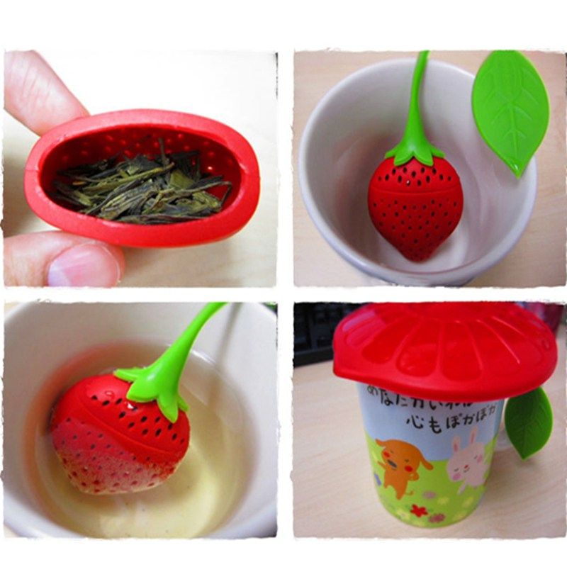 Lovely Fruit Strawberry Shape Silicone Tea Herbal Spices Leaf Infuser Strainer For Loosing Leaf Tea In Teapot, Teacup