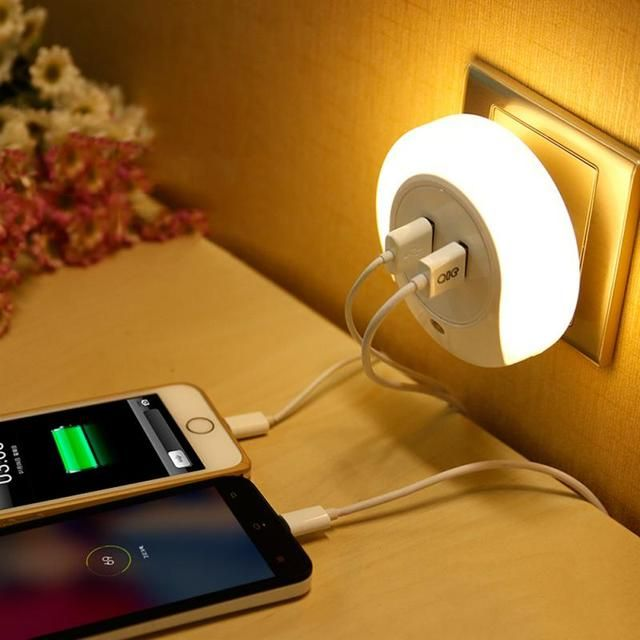 Intelligent Led Night Light Creative Home Light With Double Usb Charger