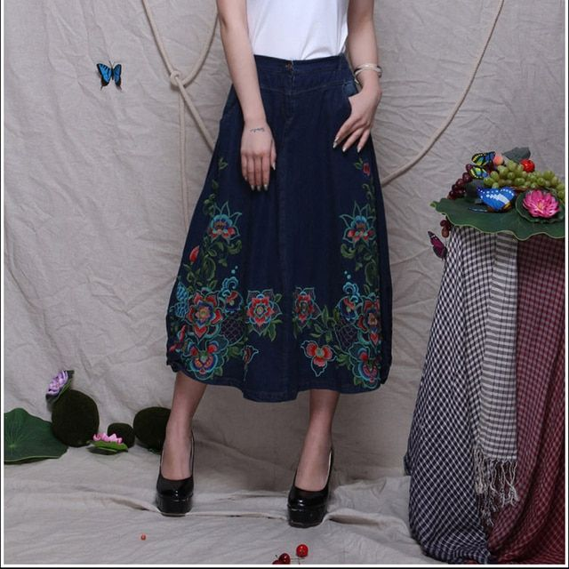Embroidery skirts denim national trend Chinese style new fashion mid-calf skirts woman cotton autumn spring A-line yjf0601