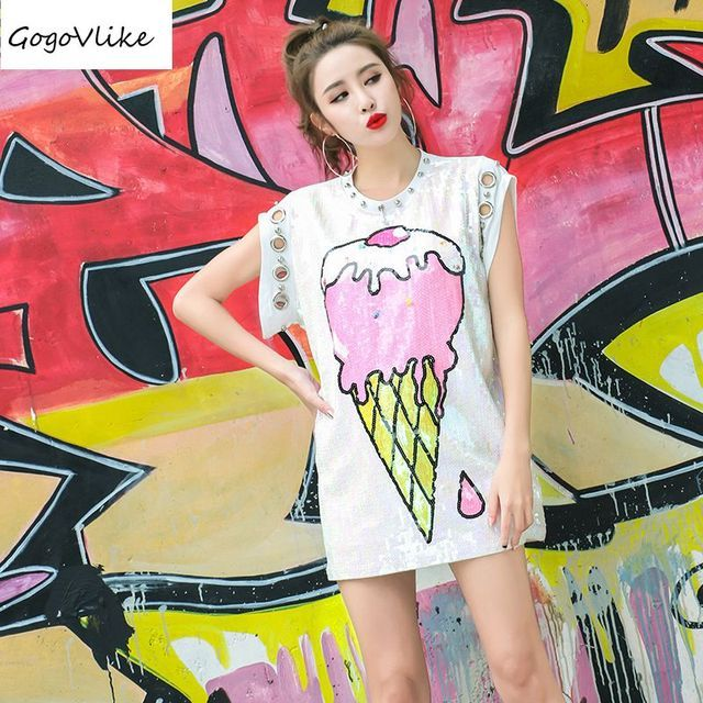 Cute White Sequins Ice Cream T shirt 2017 summer Women loose streetwear feminino Casual Metal Ring Pockets top tee LT035S10