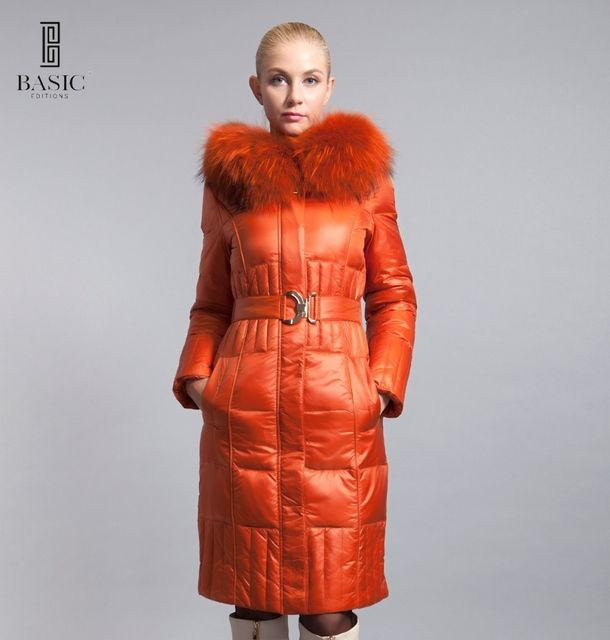 BASIC-EDITIONS new women's winter down coat fox fur collar jacket - 12W-54