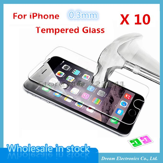 10pcs/lot Screen Tempered Glass For iPhone 11 Pro X XS MAX XR 8 7 6 6S Plus 5 5s 5c Screen Protector Film 0.3mm Explosion Proof