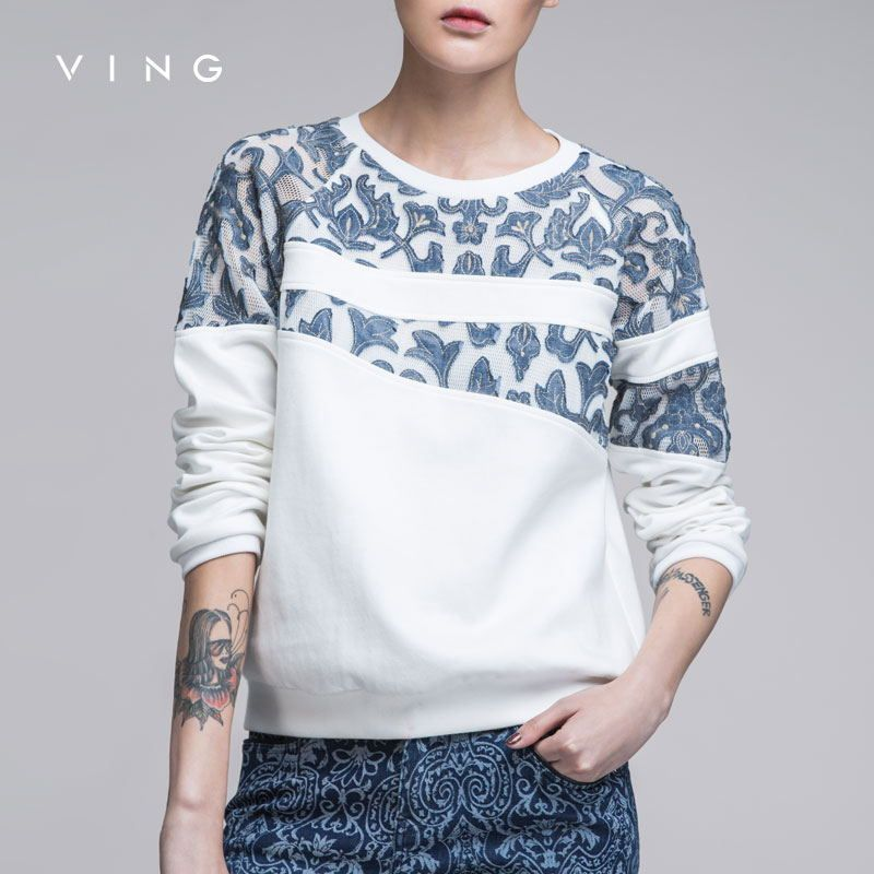 Ving 2017 Women Denim Patchwork O-Neck Sweatshirt Hollow Out Women Pullovers