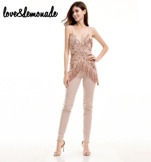 Love&Lemonade  Sexy V-Neck Gold Sequined Tassels Jumpsuits TB 9613