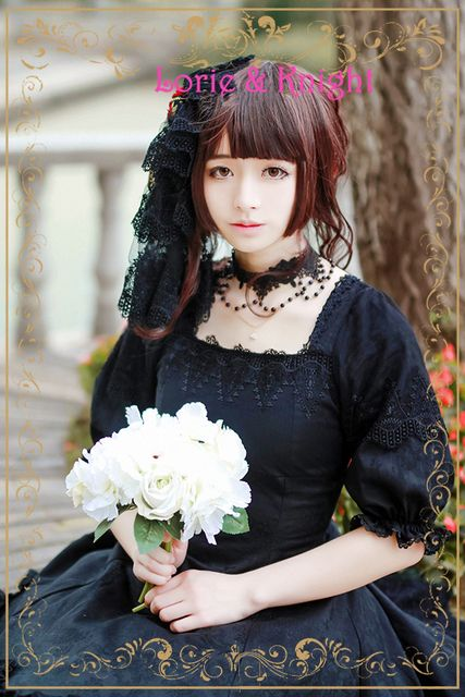 Japanese Harajuku Devil Rose Black Jacquard Gothic Lolita Dress Women Gothic Tea Party Dress