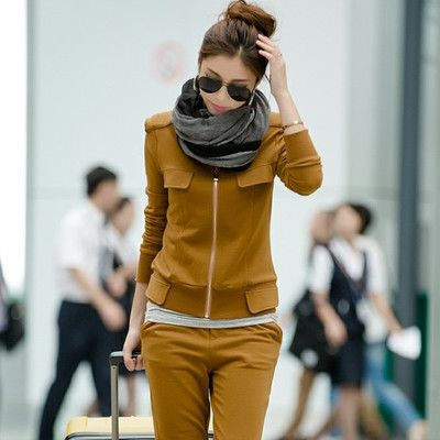 Korean Thick Autumn Winter Clothing New 2015 Plus Size Zipper Full Sleeve Solid Women Casual Set LY1002