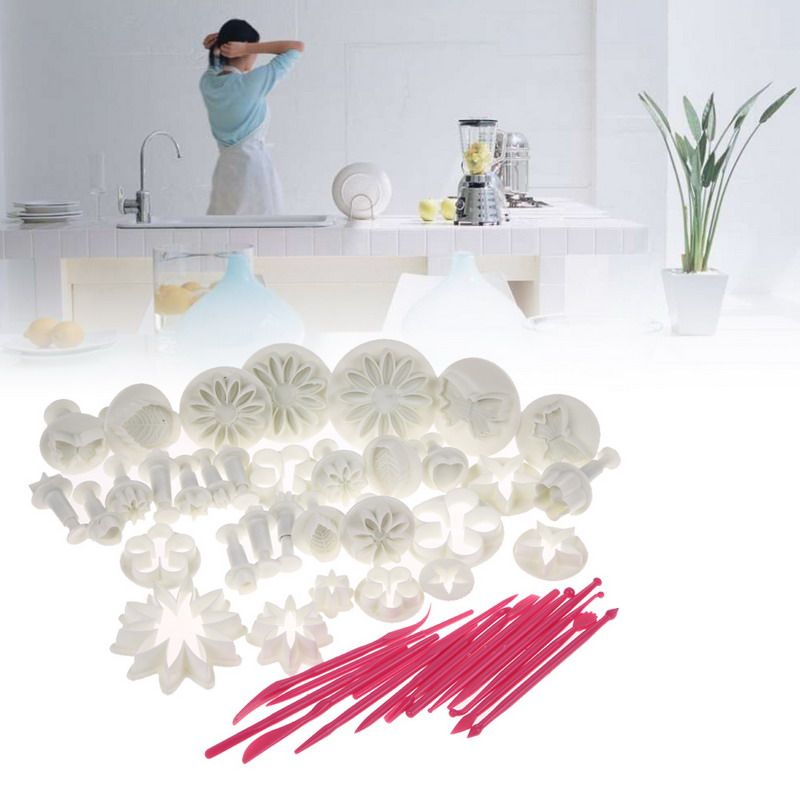 47pcs/set Flower Sugarcraft Silcone Cake Mold Tool Fondant Plunger Mold Cake Decorating Tools Cake Mould Polymer Clay Molds