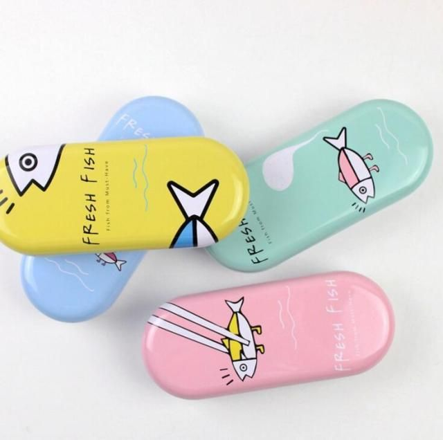 12 pcs/lot Creative Fresh Fish Tin Glasses Case Desktop Storage Box School Office Supply Gift Stationery
