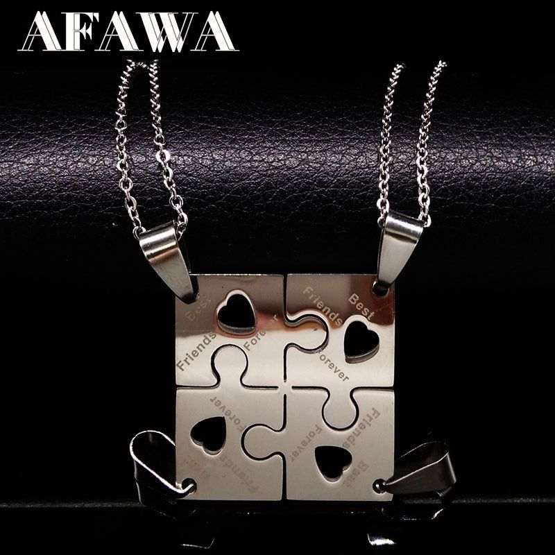 4 Pcs Best Friends Pendant Necklace Women Stainless Steel Neckless Jewelry Silver Color Puzzle Friendship Necklace Gift N6101