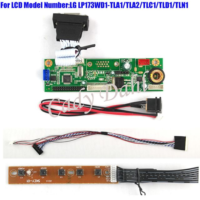 VGA Monitor Driver Controller Board + 40p Lvds Cable Kits for LP173WD1 - TLA1/TLA2/TLC1/TLD1/TLN1 1600x900 2ch 6 bit LCD Display