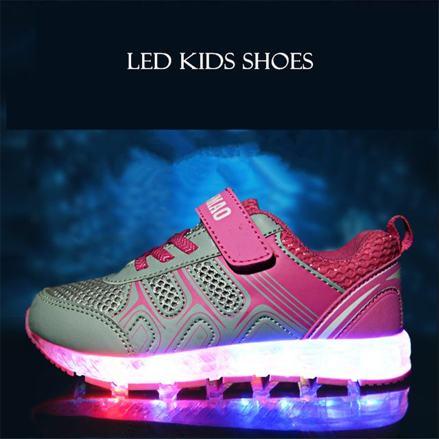Glowing Sneakers Led Luminous Shoes Kids Sneakers Lights Shoes Tenis Infantil Led Footwear For Children Lights USB 50Z0002