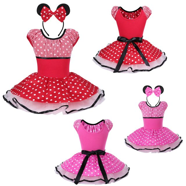 Minnie Mouse Mickey Cosplay Red Polka Dots Short Sleeve Ballet Tutu Dress for Girls Ballet Gymnastic Leotard Dress Age 2~8 Years