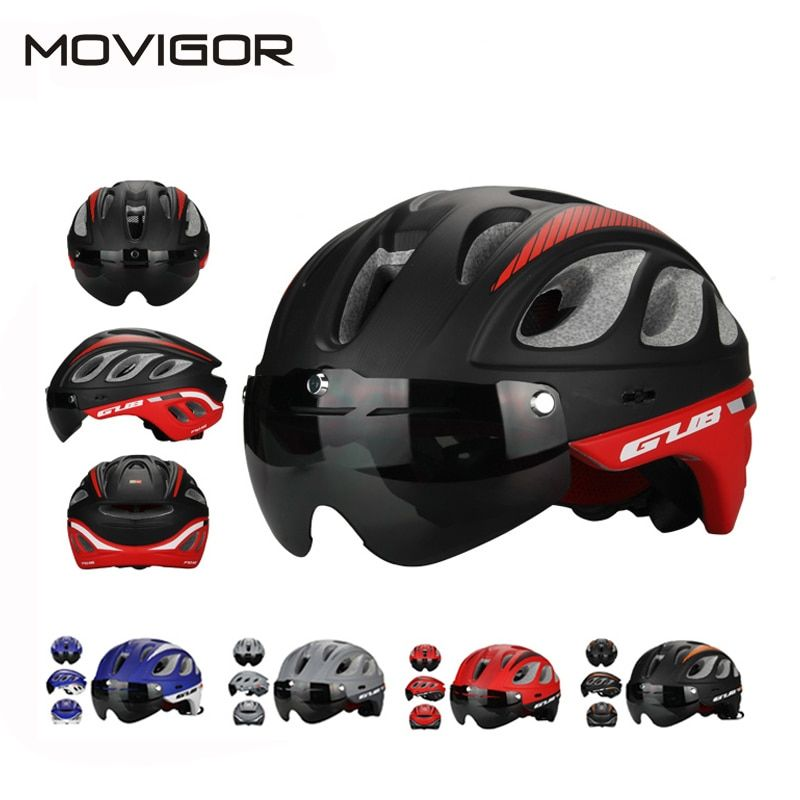 GUB MTB Road Racing Bike Helmet With Goggles Eyewear Integrally Molded ESP+PC Aero Cycling Bicycle Helmet & Glasses 4 Colors