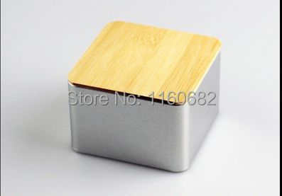 9.5x9.5x6.5cm Square useful tea iron case / storage case / silver tea tin box / wholesale with bamboo cover
