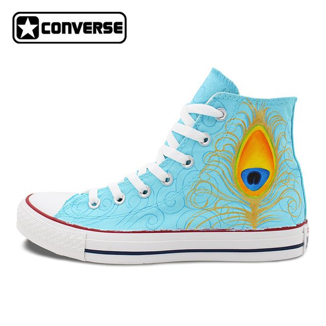 Converse All Star Canvas Shoes Hand Painted Custom Design Peacock Feather Beautiful Patterns High Top Sneakers for Men Women