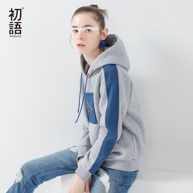 Toyouth 2017 New Arrival Women Spring Sweatshirt Casual Letter Embroidery Patch Loose Sweatshirt Female Long Sleeve Hoodies