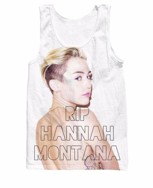 RIP Hannah Montana Tank Top pop star controversial Miley Cyrus Sexy Vest Jersey Summer Style Camis For Women Men